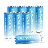 REACELL AA Akku Batterien Wiederaufladbar 8 Stück, 2800mAh vorgeladener Mignon AA NI-MH 1.2V Akkubatterien geringe Selbstentladung mit Aufbewahrungsbox