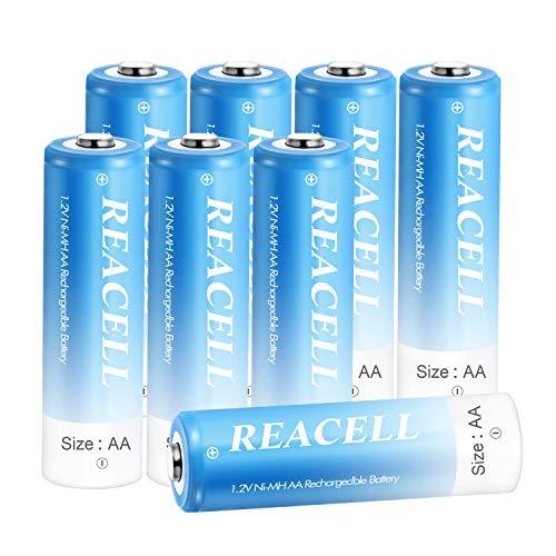 REACELL AA Akku 2800mAh Wiederaufladbar Batterien 8 Stück Mignon Akkus Aufladbare NI-MH 1,2V Vorgeladen geringe Selbstentladung mit Akkubox