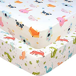 Handywa – 100% Cotton 2 Pack Fitted Crib Sheets Set for Baby and Toddler Bed Mattresses – Woodland Animals and Dinosaurs Print for Boy or Girl Nursery