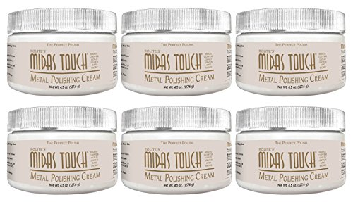 Rolite Midas Touch Metal Polishing Cream - Cleaner and Polishing Rouge for Sterling Silver, Gold, Brass, Chrome, Copper, and Other Metals, Non-Toxic Formula, 4.5 Ounces, 6 Pack