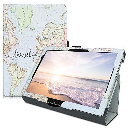 kwmobile Custodia Compatibile con Huawei MediaPad M5 Lite 10 - Custodia Cover Tablet con Supporto - Copertina in Pelle PU Smart Case con Stand - Mappa del Mondo Nero Multicolore