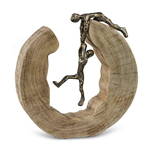 Moritz Skulptur Teamwork Teamarbeit Mangoholz Alu Massive Mangoholz-Baumscheibe Handarbeit 29,5 x 28 cm Schwarz Gold