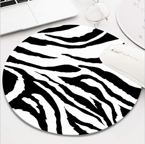 Ydset Zebra Print Custom Mouse Pad Waterproof Material Non-Slip Rubber Round Mouse Pad(7.8x7.8x0.08inch) for Office Desktop or Gaming Mouse Mat Keyboard Pad
