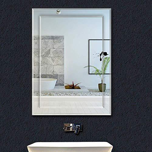 WEHOLY Wand-Kosmetikspiegel mit Lichtern 900 x 650 mm Rechteckiger Badezimmer-Wandspiegel Abgeschrägte Design-Garderobe Wandmontage