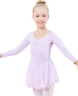 Miyarooma Girls' Ballet Ruffle Long Sleeve Leotard Open Crotch Student Kids Dance Dress