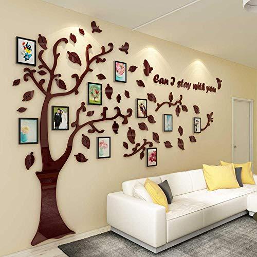OTXA Warme Foto Baum 3D qualität acryl wandaufkleber bilderrahmen Dekoration mit DIY kreative Vogel Baum hintergrundbild Aufkleber Kaffee Links XXL about3500x2315mm