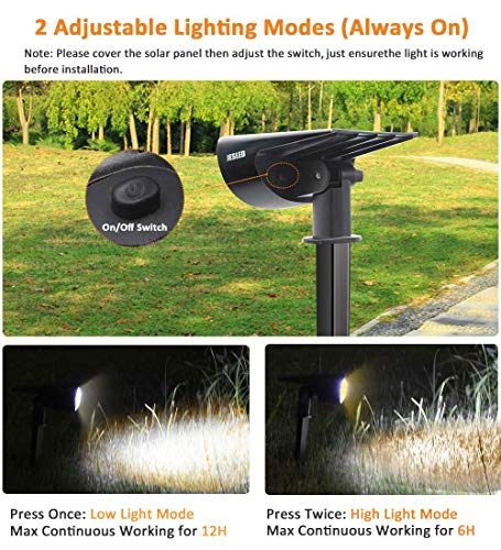 JESLED Solar Landscape Spot Lights, Warm White, Outdoor 14 LED Spotlight Dusk to Dawn, IP67 Waterproof Solar Powered 2-in-1 Wireless Landscaping Light for Yard Patio Garden Path Porch Walkway 2-Pack