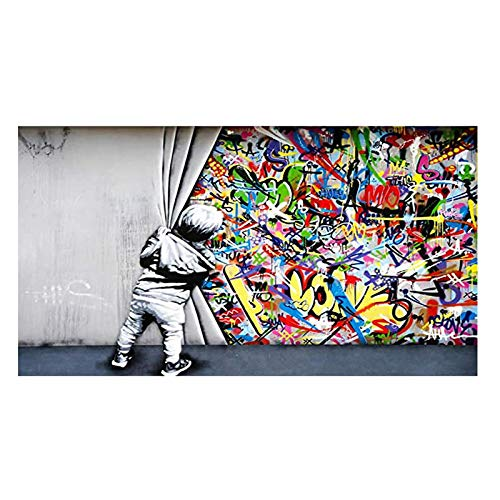 XIANGPEIFBH Abstract Graffiti Behind The Curtain Banksy Street Art Canvas Painting Poster Print Wall Art Picture Home Room Decor 60x120cm Unframed