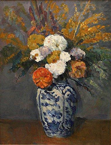 Das Museum Outlet–Dahlien in die Delft vase, 1873, gespannte Leinwand Galerie verpackt. 40,6x 50,8cm