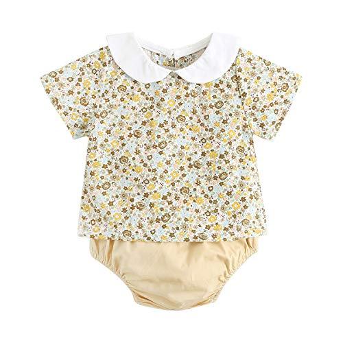 UMore Mameluco Bebé, 100% Algodón Recién Nacidos Niño Niñas Verano Bautizo Peleles Bodies Conjuntos Monos Ropa de Bebe Body de Manga Corta para Bebé
