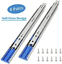 6 Pairs of 22 Inch Hardware 3-Section Soft Close Full Extension Ball Bearing Side Mount Drawer Slides,100 LB Capacity Drawer Slide