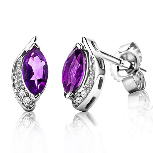 Miore Jewellery Women's 0.01 Carat Diamond Stud Earrings with Purple Birthstone Amethyst and 4 Diamonds Diamonds Brilliant Earrings 9 Carat / 375 Gold