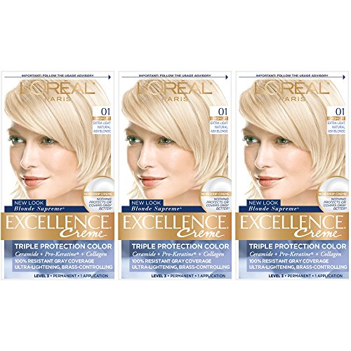 Price comparison product image L'Oreal Paris Excellence Creme Permanent Hair Color,  01 Extra Light Ash Blonde,  3 Count