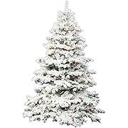 """Vickerman 31014 - 10' x 82"""" Flocked Alaskan 1,400 Multi-Color Italian LED Lights Christmas Tree (A806387LED)"""