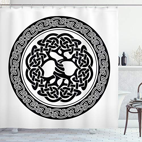 Ambesonne Celtic Shower Curtain, Native Celtic Tree of Life Ireland Early Renaissance Modern Design, Cloth Fabric Bathroom Decor Set with Hooks, 70' Long, White Black