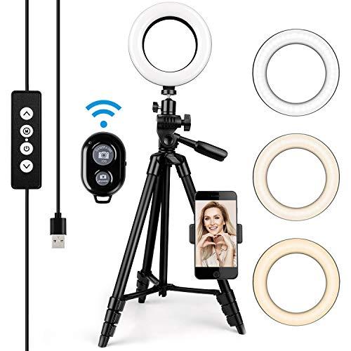 LED Ring Light 6 Pouces - Amzdeal Anneau lumineux 3 Couleurs Dimmable 3000K-5600K Luminosité réglable Rotation 360°, avec télécommande et support mobile, pour Maquillage / Appel Vidéo / Selfie