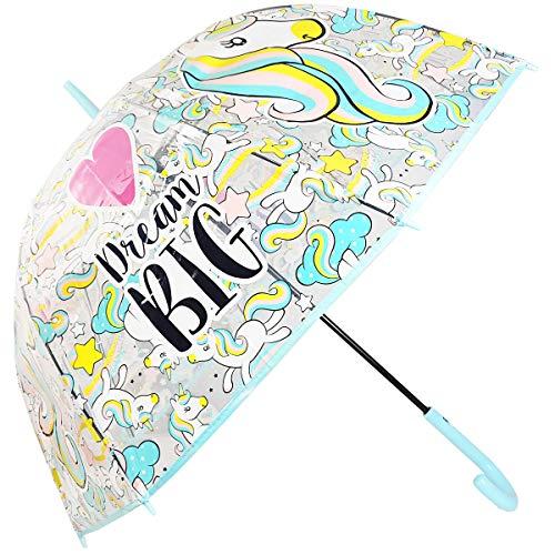 Paraguas Transparente Automático Cúpula Paraguas Infantil Paraguas Niña Paraguas Unicornio 58cm (Azul)