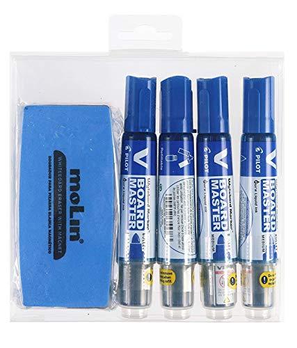 Pack Caja Rotuladores Pizarra V Board Master- 4 Unidades + 1 Borrador Magnético (Azul)