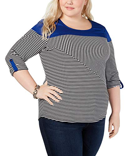 NY Collection Womens Plus Striped Colorblocked Top B/W 3X Blue/Black
