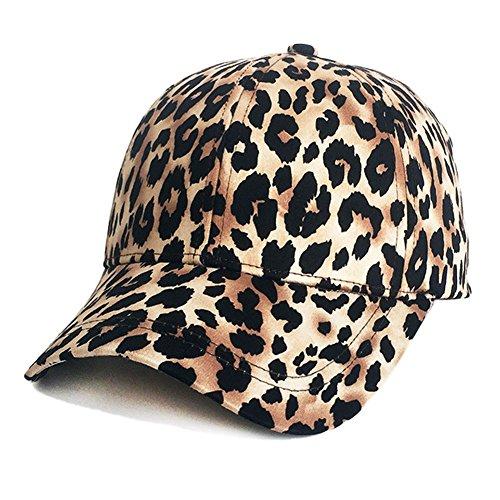ZLSLZ Womens Girls Leopard Print Baseball Trucker Sport Golf Ponytail Pony Sun Hat Cap Brown