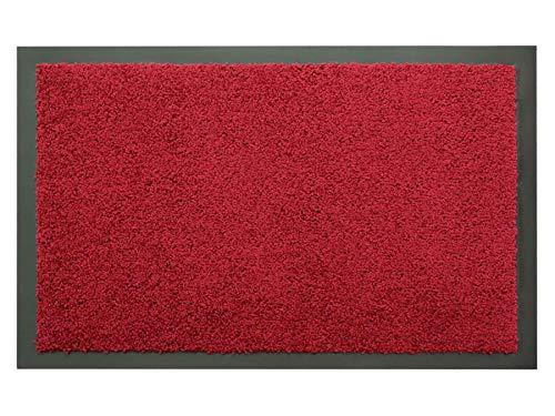 Schmutzfangmatte Sauberlauf Matte DANCER – Rot, 80x120 cm, Waschbare, Rutschfeste, Pflegeleichte Fußmatte, Eingangsmatte, Küchenläufer Matte, Türmatte Haustür Innen & Außen