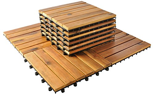 MALATEC 10er Set Holzfliesen Terrassenfliesen 30x30cm Balkon Klickfliesen Boden 5100