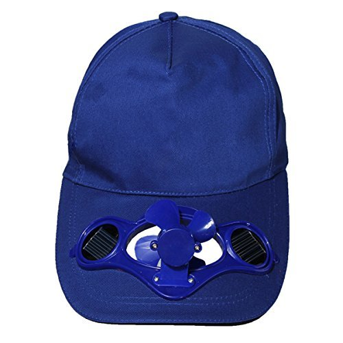 SODIAL(R)Summer Outdoor Solar Sun Power Hat Cap Cooling Cool Fan for Golf Baseball Sport - blue