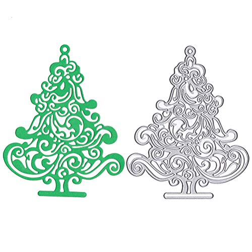 Lai-LYQ Troqueles Scrapbooking, Árbol de Navidad de Plantillas de Troqueles de Corte DIY Tarjeta de Papel Álbumde Recortes Molde Regalo Silver