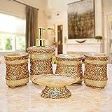 GJIAWI Decorado-Resina diseñador de Cinco Piezas de baño Set de Accesorios Incluyendo la Caja de jabón con dispensador de jabón Vaso Cepillo de Dientes Titular
