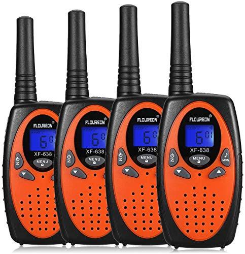 FLOUREON Ricetrasmittente Walkie Talkies 4X PMR Radio Ricetrasmittenti 8 Canali Walkie Talkies per Bambini 2 Way Radio, Arancia