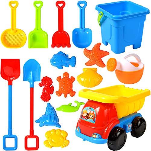 NIWWIN 17 stück Strand Sand Spielzeug Set Kinder Spielzeug gehören LKW,...