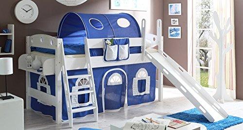 lifestyle4living Hochbett für Kinder in blau-Weiss mit Rutsche, Vorhang im Haus Motiv | Spielbett aus Kiefer Massivholz mit Einer Liegefläche 90x200 cm