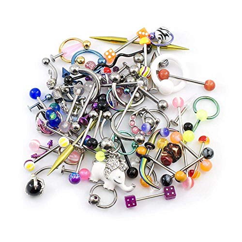 BodyJewelryOnline 100 Pack Random Body Jewelry for Belly, Nose,Nipple, Tongue, Ear and Lip in Each Pack