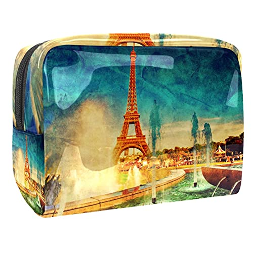 Bolsa para Cosméticos Torre Eiffel de la Vendimia Bolsas de Maquillaje de Viaje Portátil Neceser de Maquillajepara para Mujeres niñas 18.5x7.5x13cm