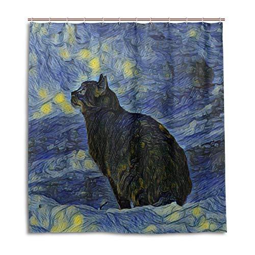 N/E Kunstmalerei Katze Van Gogh Duschvorhang, Beständig Wasserdicht Polyester Stoff Bad Vorhang Zubehör 12 Haken 66x72 Zoll Zuhause Dekor