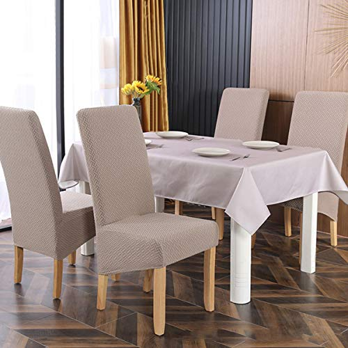 SYJ Twill Jacquard Stretch 2/4/6 Pack XL Stuhlhussen für Esszimmer, Spandex Large Dining Chair Schonbezüge für Home Living Restaurant Hotel (Khaki,6 Stück(XL))