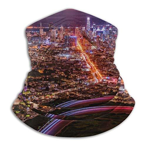 zhuhongyu98 San Francisco Nightscapes Megapolis Skyline Cityscapes Halswärmer Face Cover Bandanas für Staub Outdoor Weiche Mikrofaser Kopfbedeckung Schal Neck Gaiter