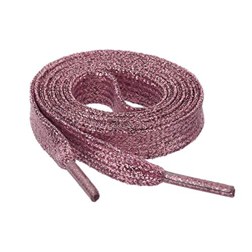 Allegra K Glitter Shiny Metallic Sparkling Shimmery Flat Sneakers Shoelace Shoe Laces Strings - pink - 110cm/43'