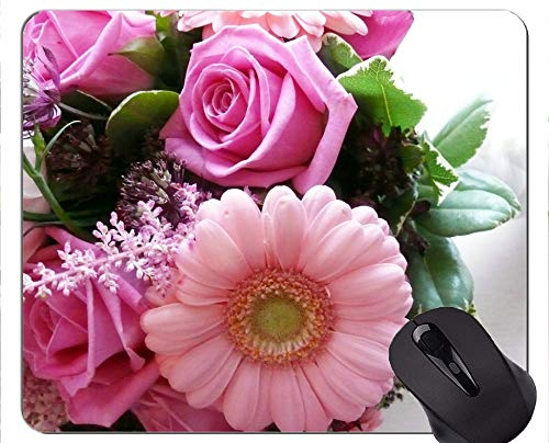 Yanteng Alfombrilla de ratón de Caucho Natural Impresa con Flor de Rosa Gerbera - Bordes cosidos