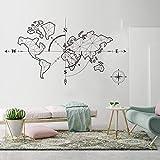 hllhpc Mapa del Mundo Grande Brújula Tierra Etiqueta de la Pared Oficina Aula Mapa del Mundo Viajes Exploración Global Aventura Vinilos Decorativos Vinilo 150 * 83cm