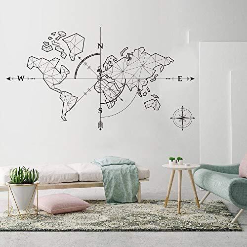 Hllhpc Mapa Mundo Grande Brújula Tierra Etiqueta