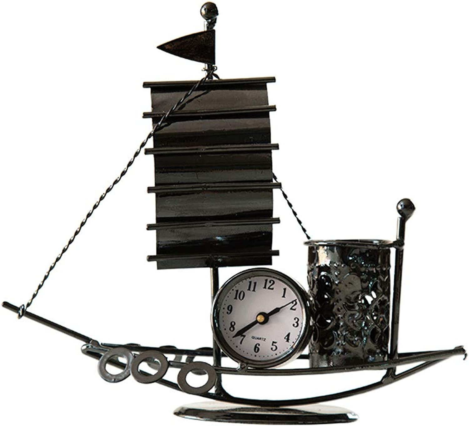 Table Accessories Statue Iron Crafts Sailing Clock Pen Holder Desktop Simple Decorative Ornaments