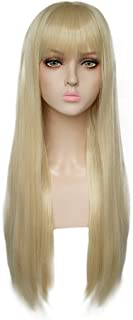 JoneTing Blonde wig for Women Long Natural Wavy Wig with Flat Bangs 613 Blonde Cosplay Wigs