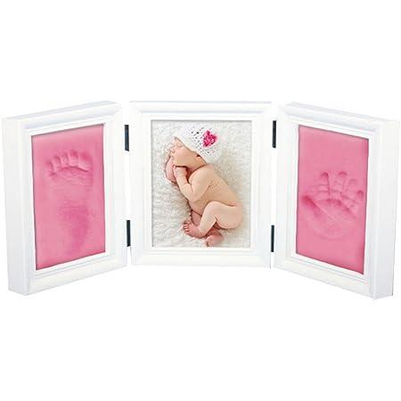 JZK Kit de marco fotos madera para manos y huellas para bebés, con arcilla alta calidad, regalo perfecto para recién nacidos (rosa arcilla)