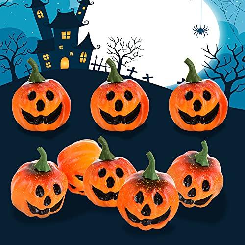 Ulikey Mini Calabaza, 8Pcs Calabaza de Halloween, Calabazas Artificiales Decoracion Otoño Adornos para Halloween Mesa Hogar Fiestas (Naranja)