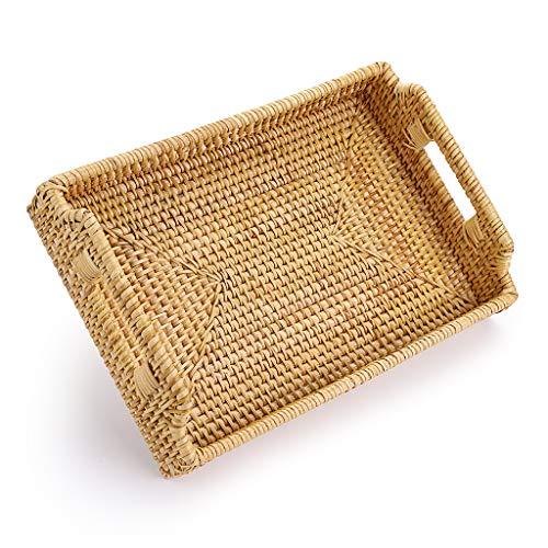 Sumnacon - Bandeja de servicio decorativa, bandeja de mimbre, organizador de mesa para desayuno, madera, frutas (rectangular, 30 x 20 cm)