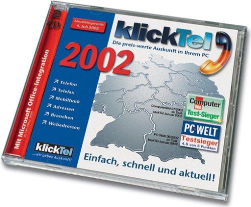 klickTel Juli 2002. CD- ROM für Windows 95/98/2000/ XP/ NT4.0. Die preiswerte Auskunft in Ihrem PC. Einfach, schnell, aktuell