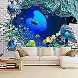 Fondos de pantalla 3D para dormitorio Mundo submarino Papel tapiz Dolphin Acuario Mural 3D Estéreo N Pared Pintado Papel tapiz 3D Decoración dormitorio Fotomural sala sofá pared mural-400cm×280cm