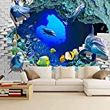 Papel tapiz 3D Mural Mundo submarino Papel tapiz Dolphin Acuario Mural 3D Estéreo Niños Ambiental Ha Pared Pintado Papel tapiz 3D Decoración dormitorio Fotomural sala sofá pared mural-250cm×170cm