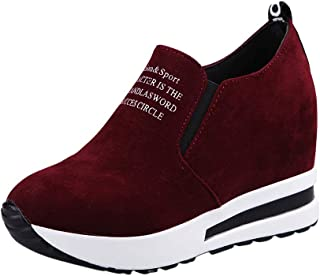 Qootent Women Thick Platform Sneakers Running Hiking Casual Flock Sport Shoes
